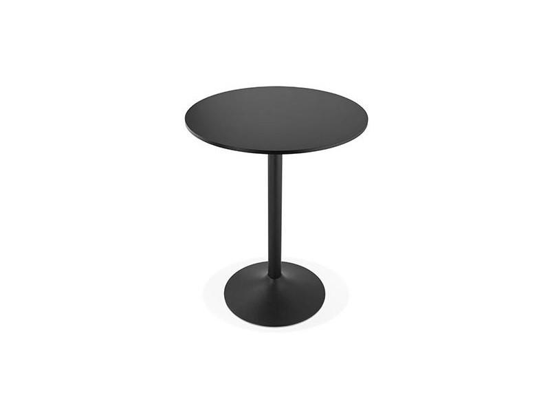Table de bar ronde 90 cm en bois noir et métal noir - barman