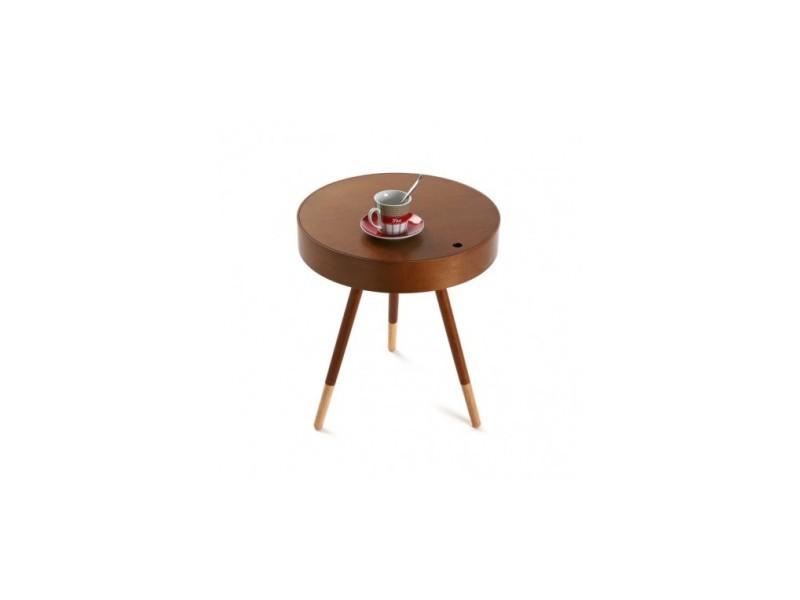 Table basse design ronde d'appoint en bois d'hévéa finition noyer