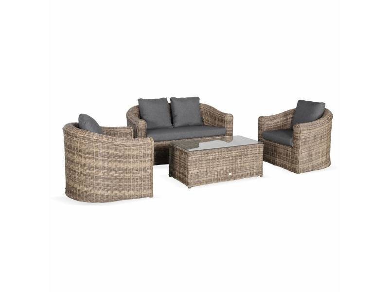 Salon De Jardin En Resine Tressee Arrondie 4 Places Valentino Naturel Coussins Anthracite Canape Fauteuils Table Basse Vente De Alice S Garden Conforama