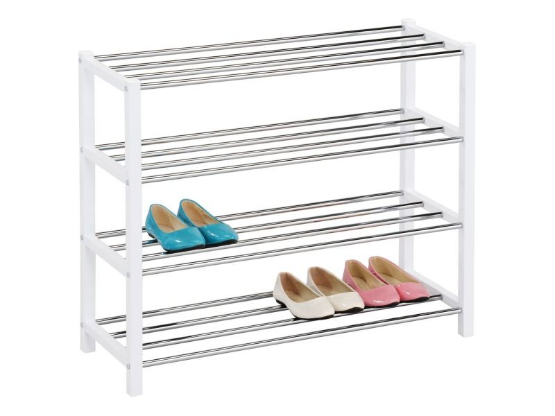 Etagère à chaussures dublin rangement porte-chaussures avec 4 niveaux pour 14 paires en métal chromé et laqué blanc