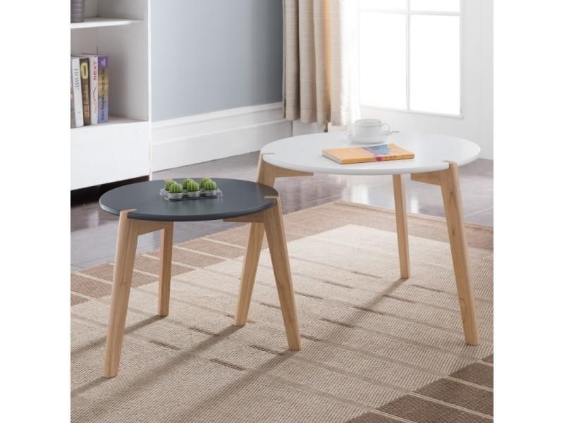 Ensemble de tables basses gigognes glada - blanc et noir - ronde - style scandinave - style minimaliste