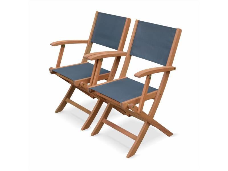 Lot de 2 fauteuils de jardin en bois almeria, 2 fauteuils pliants eucalyptus fsc huilé et textilène gris anthracite