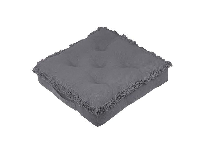 Coussin de sol 45x45 cm prague anthracite coton