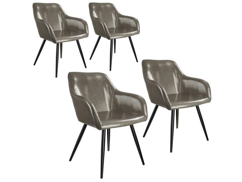 Tectake 4 chaises marilyn en cuir synthétique - gris foncé-noir 404115