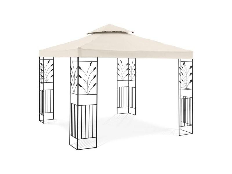 Pergola pavillon barnum tonnelle tente abri gazebo de jardin terrasse 3 x 3 m 180 g/m² beige helloshop26 14_0002762