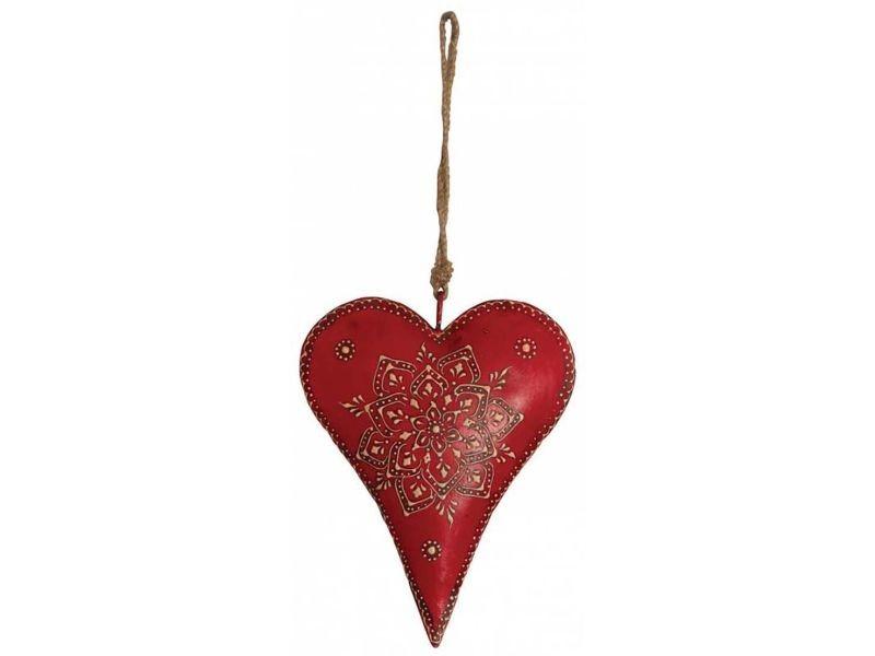 Coeur rouge en métal et corde à suspendre 20 cm