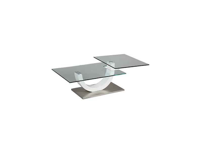 Table basse rectangulaire socle en acier et plateau en verre trempé