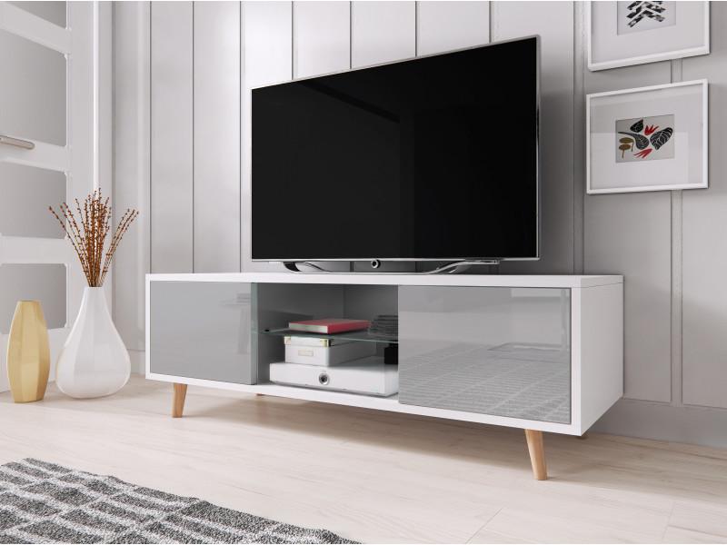 Scandinave, meuble tv minimaliste cindi blanc / gris