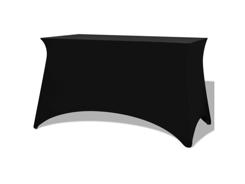 Contemporain décorations serie astana housses extensibles pour table 2 pièces 183 x 76 x 74 cm noir