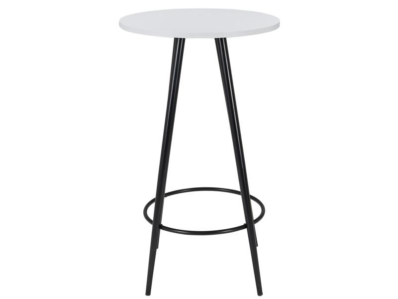 Duhome table de bar blanche avec plateau en bois et pieds en métal 222
