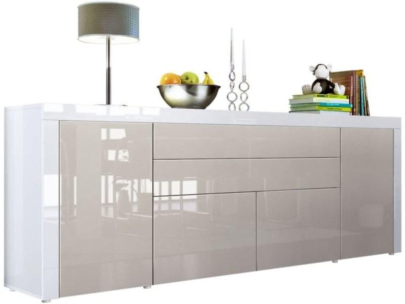 Buffet gris sable / blanc haute brillance 200 cm