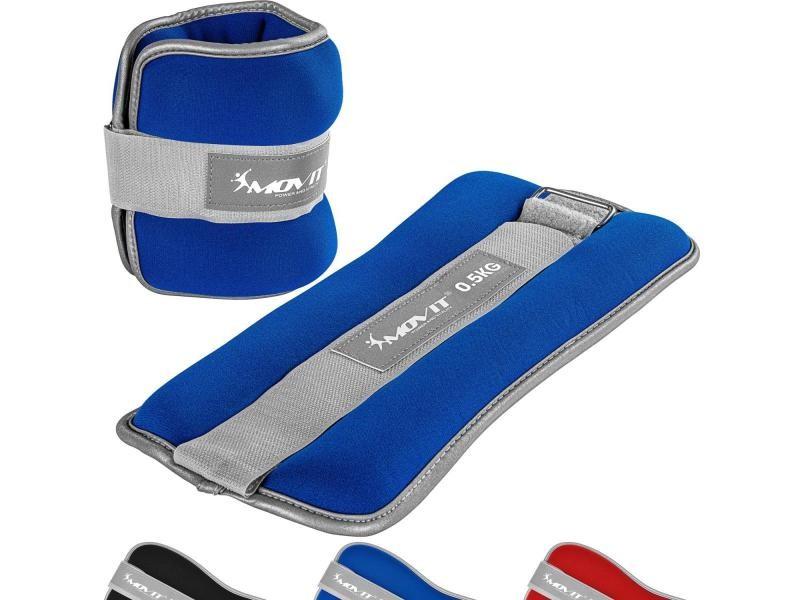 Movit® bandes lestées pour poignets et chevilles 2x0,5kg à 2x3kg, néoprène disponible en noir, bleu ou rouge - couleur : bleu - poids : 2 x 0,5kg