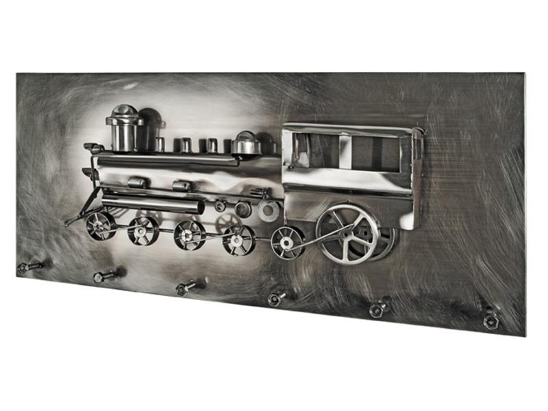 Garderobe murale coloris noir nickelé - dim : l 80 x p 12 x h 35 cm