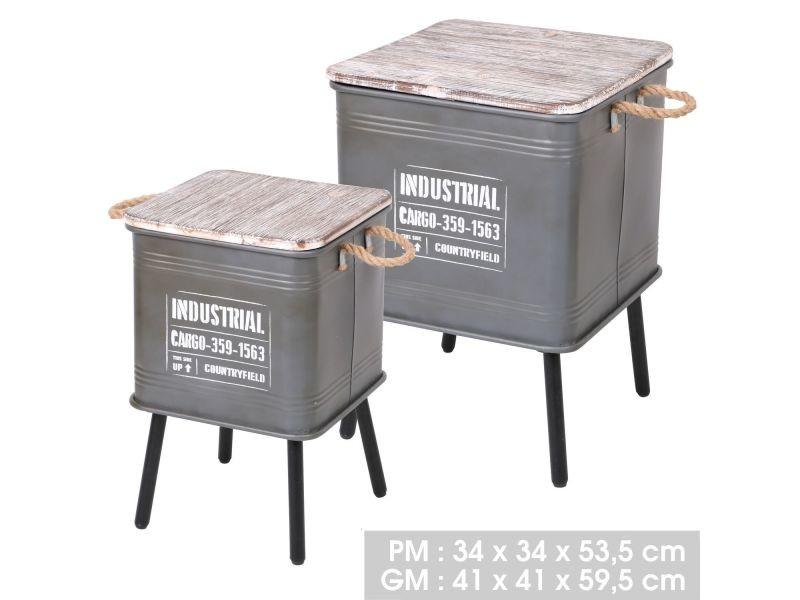 2 tables d'appoint design industriel loft - gris