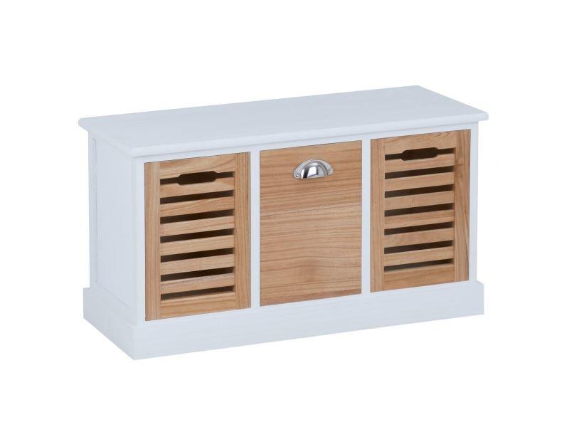 Banc de rangement trient meuble bas coffre et 3 caisses de rangement, en mdf et bois de paulownia blanc/naturel