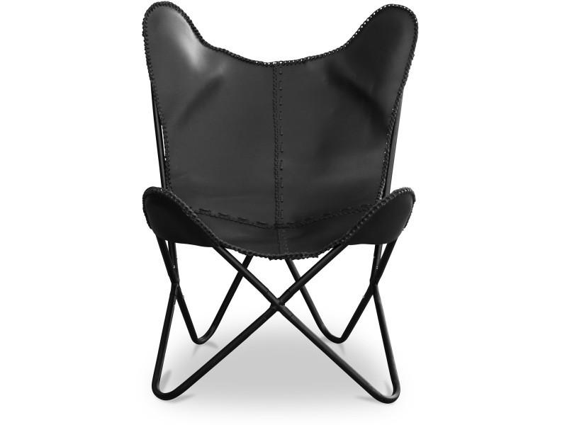 Chaise papillon en cuir noir noir