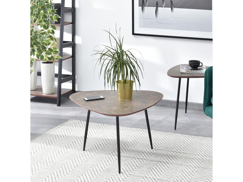 Table basse - rosin - 68x65 - marbre brun / noir - style industriel