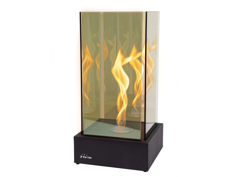 Cheminée de table, une flamme torsadée comme une tornade superbe, effet à l'infini avec verre trempé TORNADO INFINITY