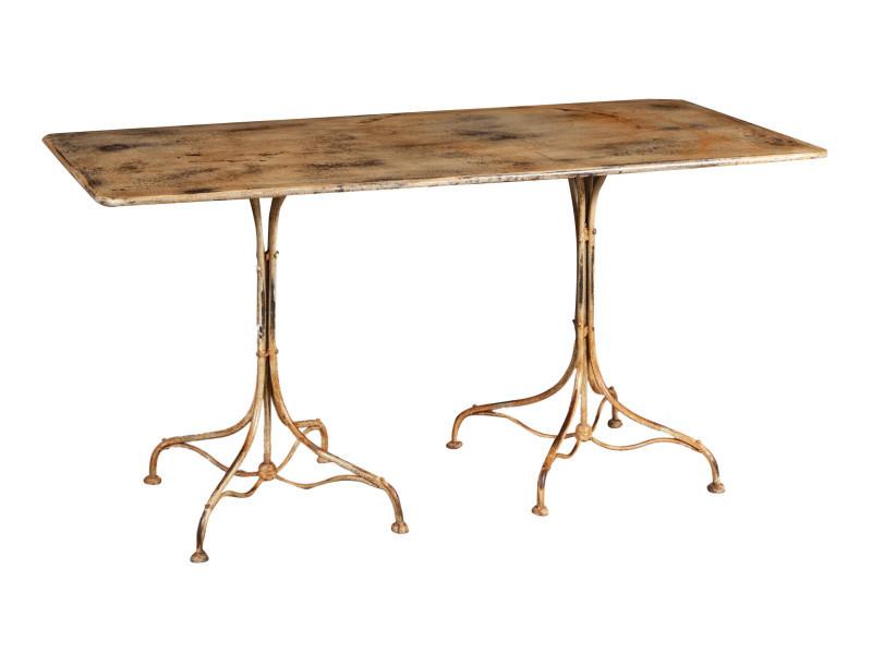 Table en finition crème antique en fer forgé