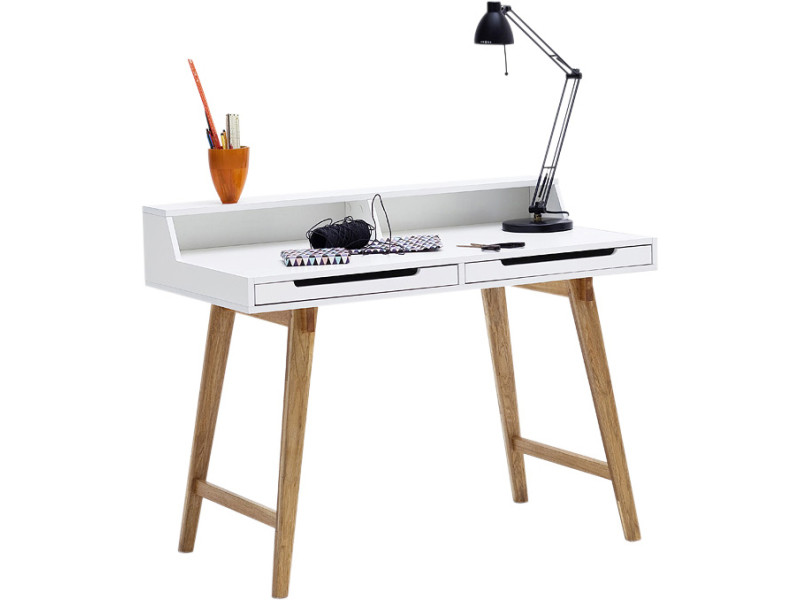 Bureau blanc design scandinave en bois mdf et piètement en bois