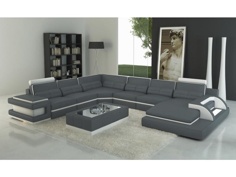 Canapé panoramique cuir gris et blanc design avec lumière ibiza (angle droit)-