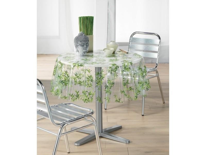 Toile cir e nappe de protection transparente d 140 cm ronde bambou vente de doucceur d - Protection transparente table ...