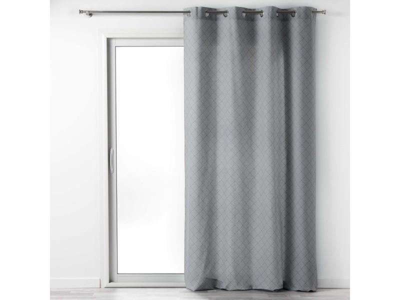 Rideau a oeillets 140 x 240 cm coton imprime lenon gris/blanc 1608645-gris-blanc