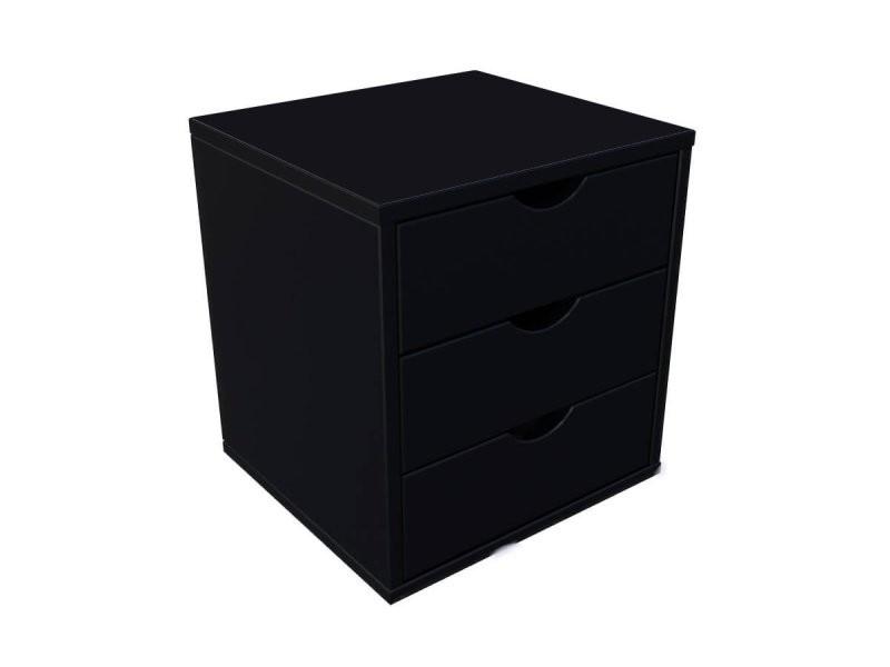 Bloc 3 tiroirs bois massif noir BLOC3T-N