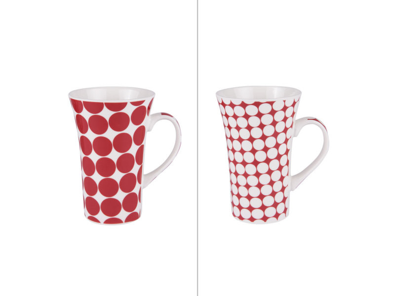 Mug pois rouge xl 55 cl (lot de 2)