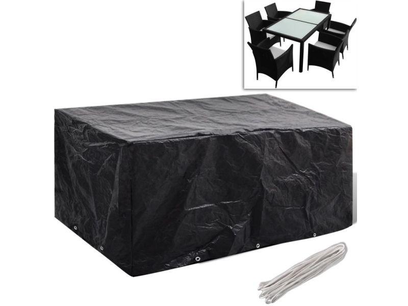 Contemporain accessoires pour meubles d'extérieur serie bujumbura housse à 10 œillets 240x140cm pour salon de jardin en polyrotin 6 pers