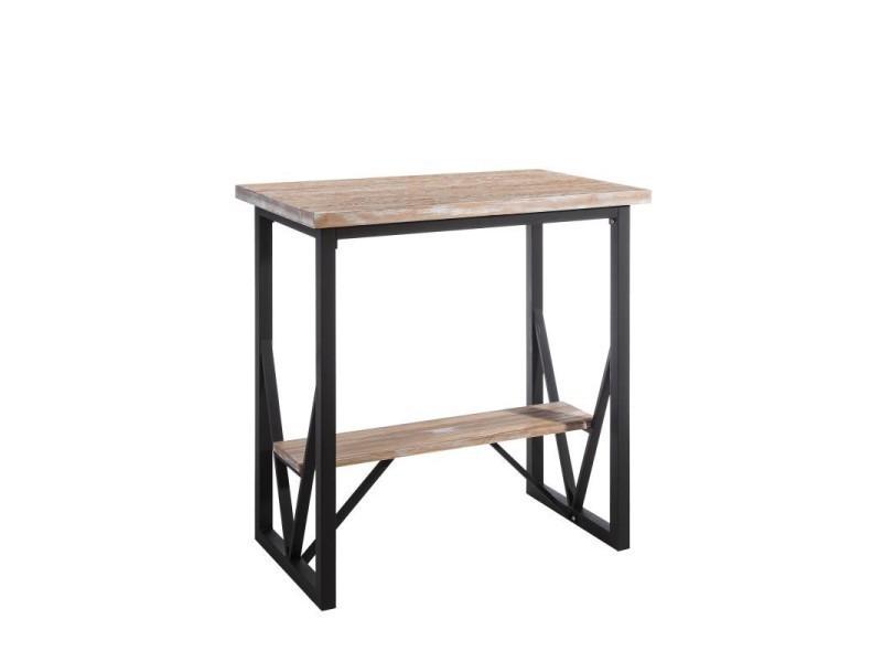 Table haute métal/bois et repose pieds - brutus - l 100 x l 60 x h 105 - neuf