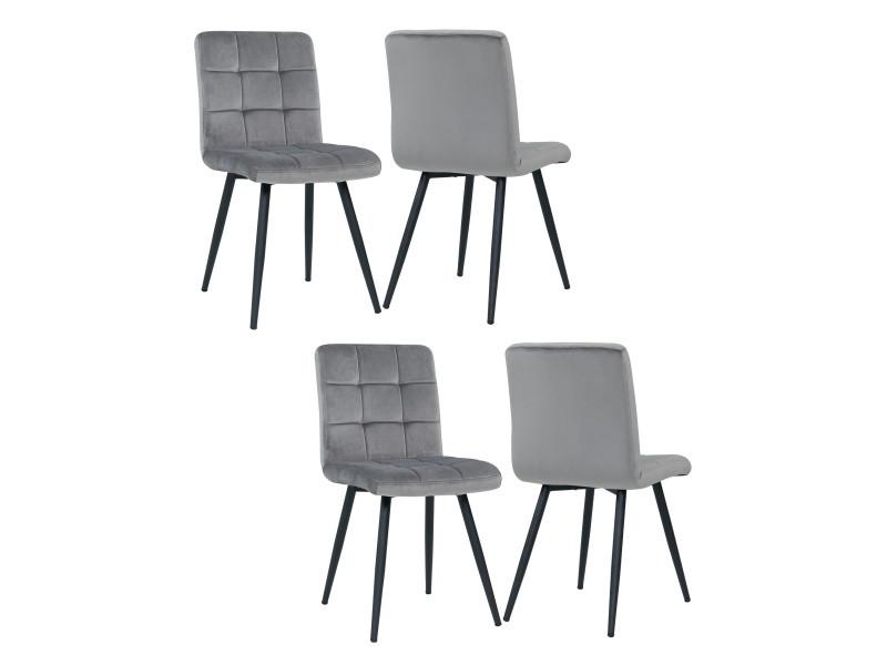 Duhome 4x chaise salle à manger en velours gris rembourrée