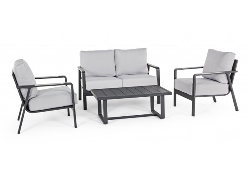 Set de jardin avec coussins en aluminium et acier -pegane ...