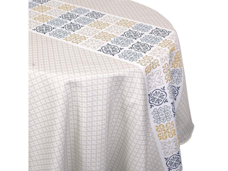 Nappe ronde 180 cm imprimée 100% polyester caro grège beige
