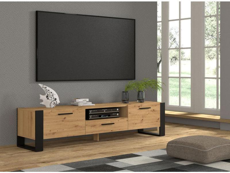 Bobochic meuble tv 200 cm nuka bois et noir