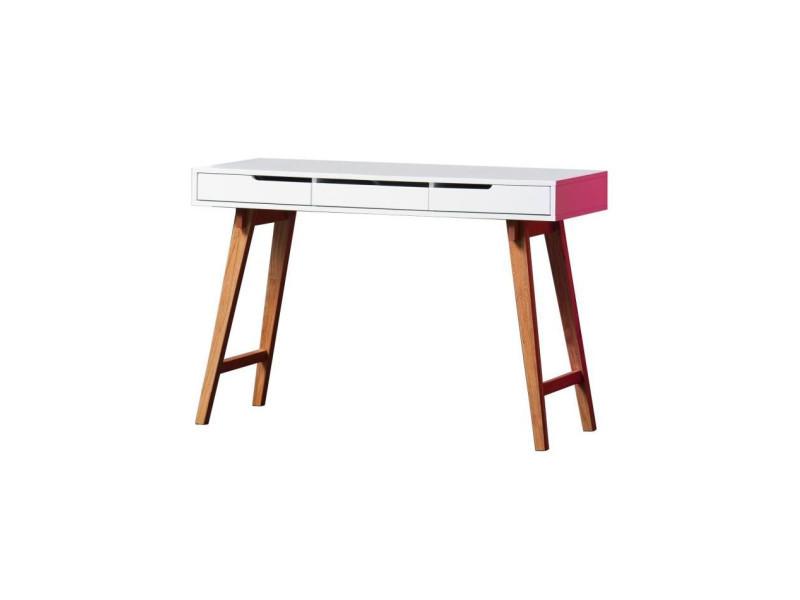 Anneke bureau scandinave laqué blanc mat et pieds en bois hetre
