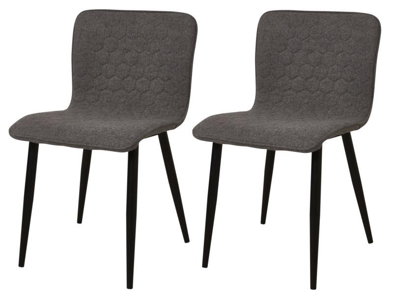 Vegas lot de 4 chaises de salle a manger pieds métal noir