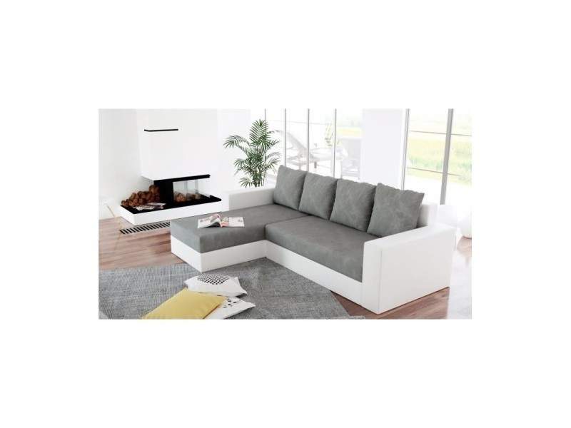 Canapé d'angle convertible lit et réversible arion gris et blanc TENDENCIO
