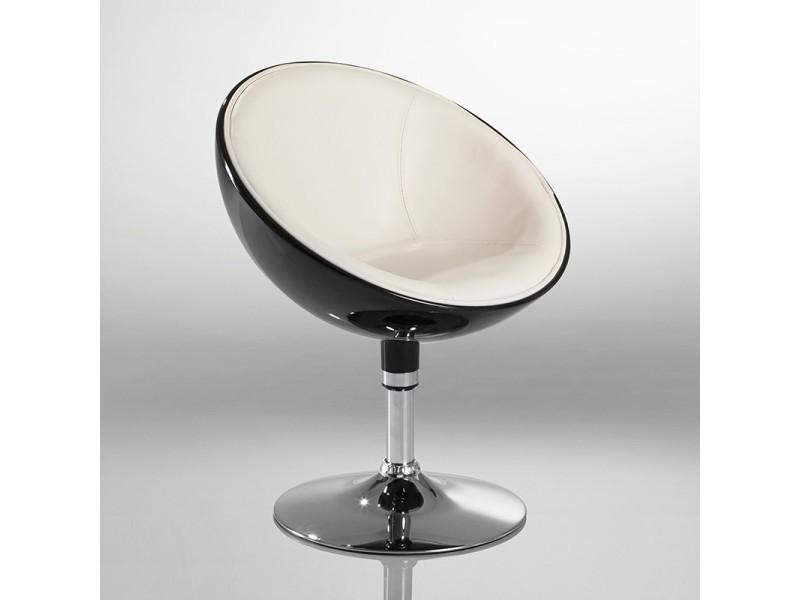 Fauteuil oeuf design cuir pu chaise bureau noir et blanc fal