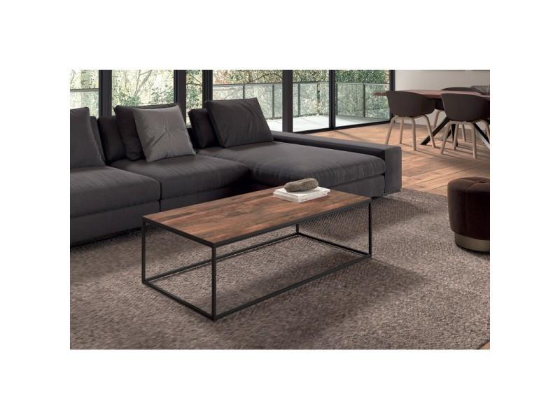 Table basse rectangulaire goa en bois massif. Meuble style industriel