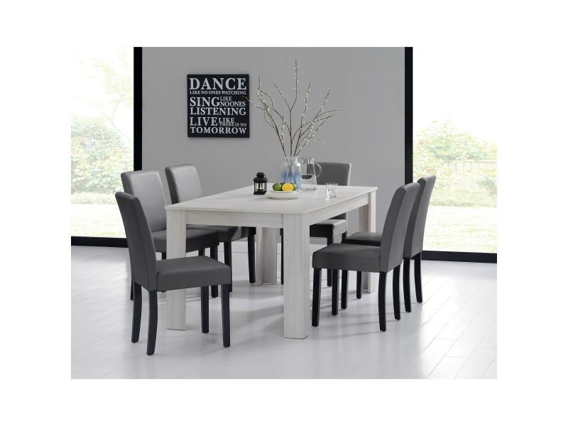 [en.casa] table et jeu de chaises 'oslo' (blanc - 160x90) 6 chaises (rembourrées - gris foncé) - en pack économique