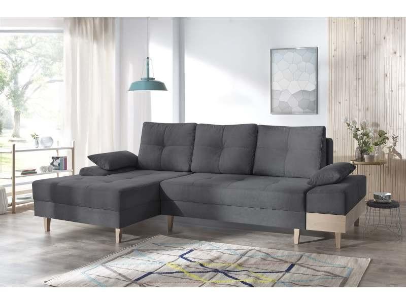 canape d 39 angle convertible sven i gauche pieds et accoudoir en bois enjoy anthracite. Black Bedroom Furniture Sets. Home Design Ideas