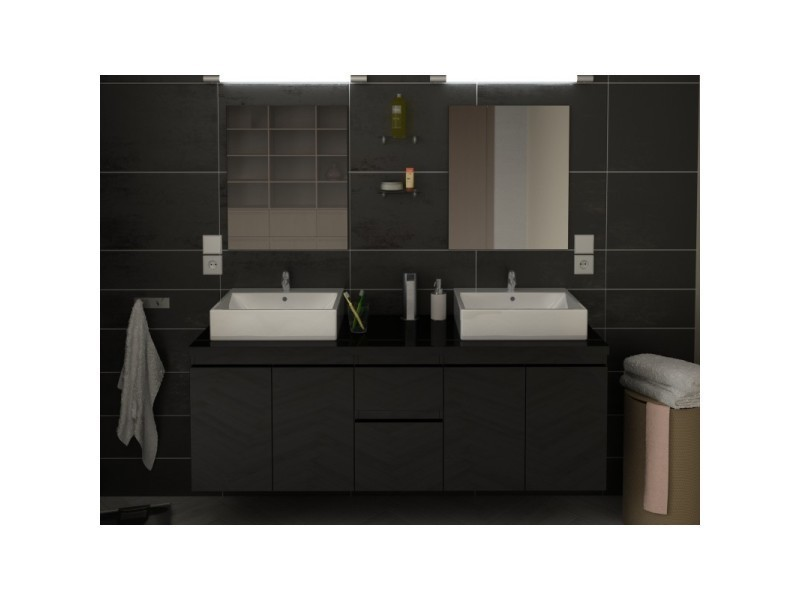 Meuble de salle de bain double vasque 150 cm noir coralie ...
