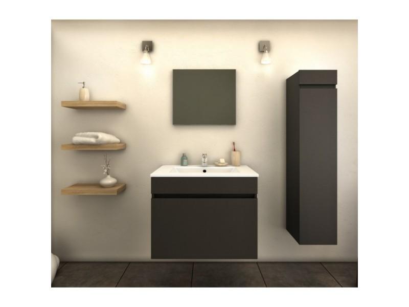 Meuble de salle de bain simple vasque 60 cm 1 colonne - Meuble colonne salle de bain conforama ...
