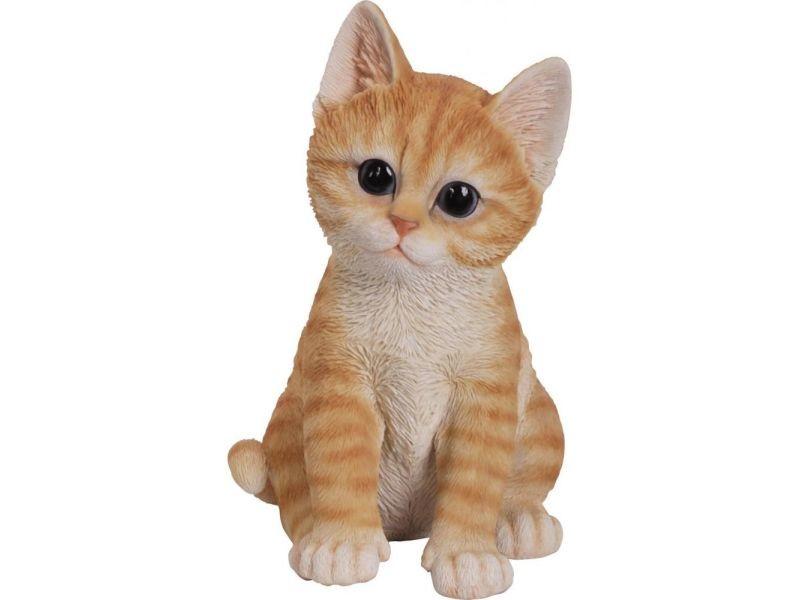 Statue de jardin chaton en résine 20 cm kitten roux