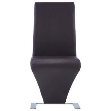 Vidaxl chaises à dîner avec forme de zigzag 2 pcs marron similicuir V27759029