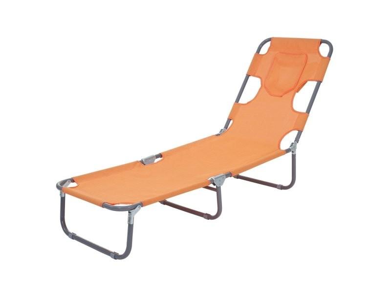 Transat chaise longue de jardin pliable en tissu orange mdj04123 ...