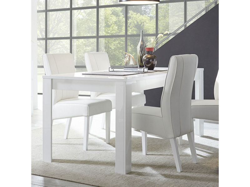 Table salle manger design blanc laqu sandrea vente de Table salle a manger blanc laque conforama