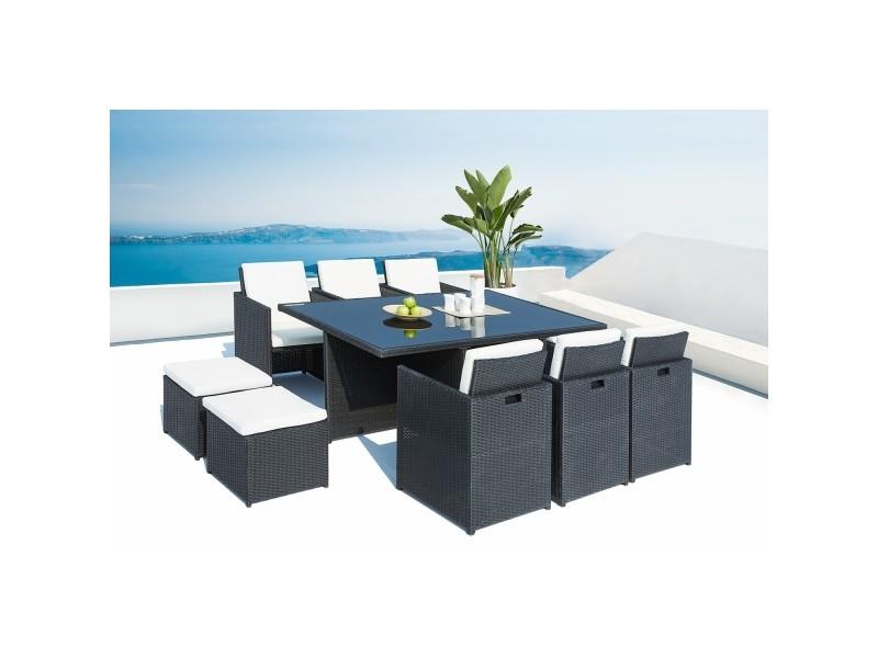 Le sherka : salon de jardin encastrable 10 places en résine tressée noir coussins blancs 221873