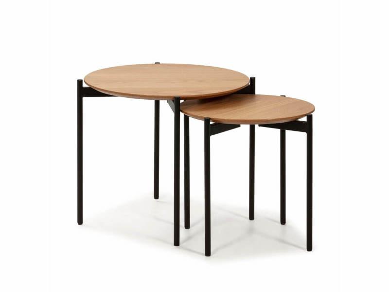 Bobochic table basse gigognes rapi chêne clair